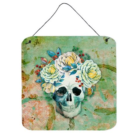 Day of the Dead Skull with Flowers Wall or Door Hanging Prints](Day Of The Dead Hair Flowers)