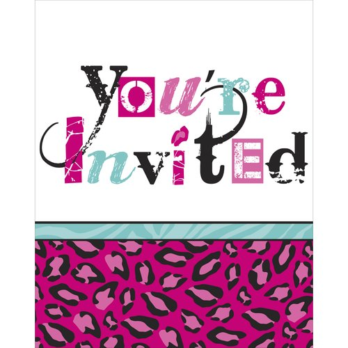 Pink and Green Leopard Print Invitations w/ Envelopes (8ct)