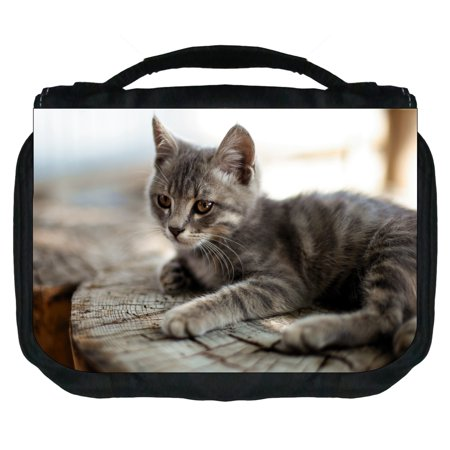 Kitty on a Tree Stump Small Travel Toiletry / Cosmetic Case with 3 Compartments and Detachable - Small Tree Stumps