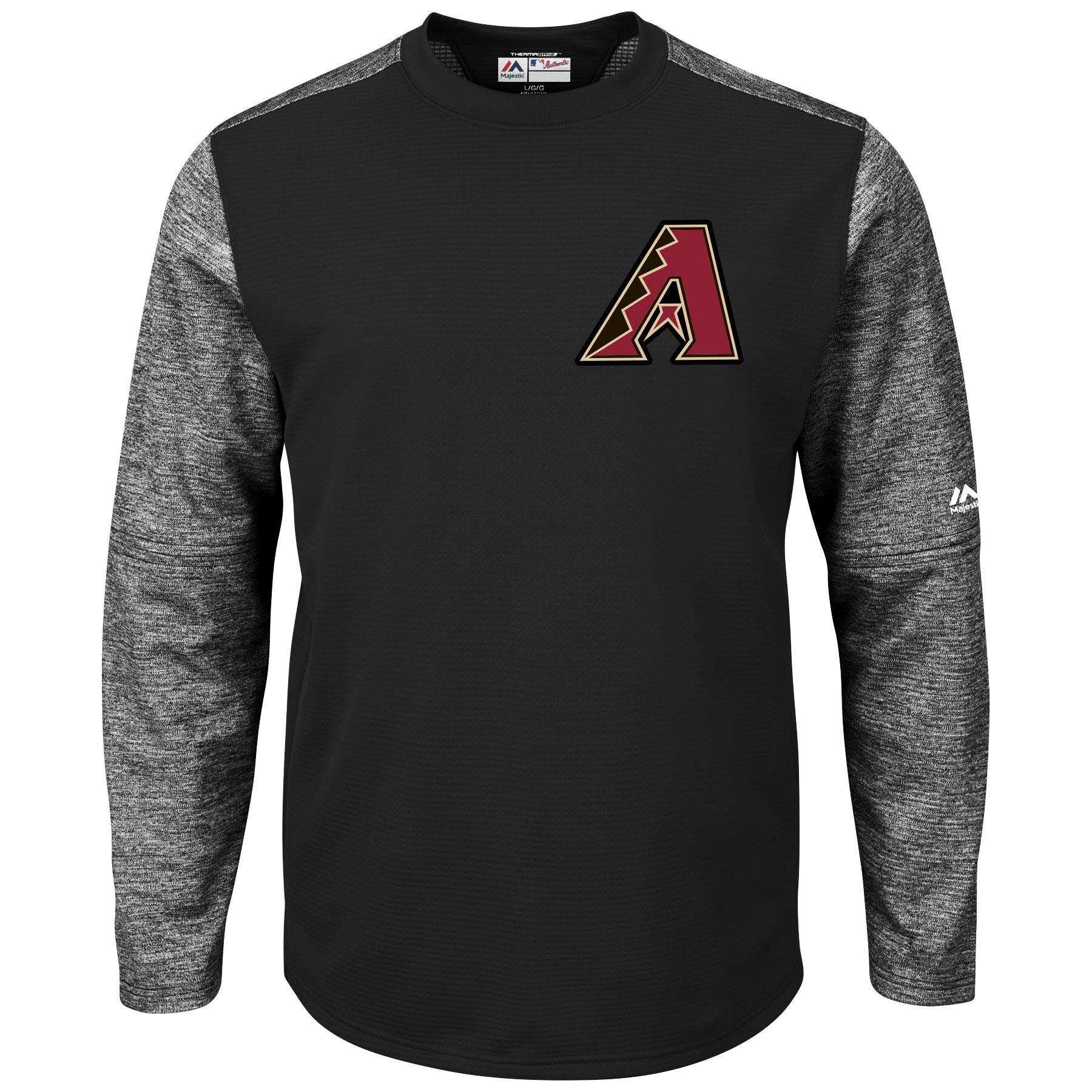 Arizona Diamondbacks Majestic Authentic Collection On-Field Tech Fleece Therma Base Pullover Sweatshirt Black by MAJESTIC LSG