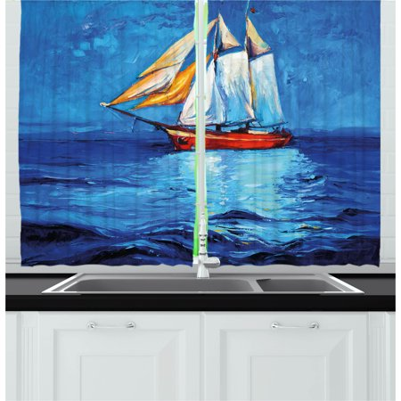 Nautical Curtains 2 Panels Set, Oil Painting Style Sailing Ship on Horizon Impressionist Art Image Print, Window Drapes for Living Room Bedroom, 55W X 39L Inches, Navy Blue and Blue, by Ambesonne