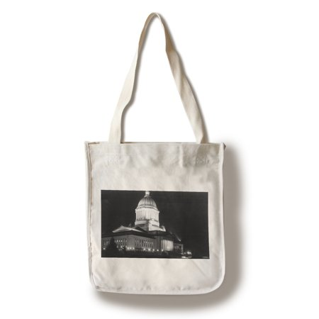 Olympia, Washington - Capitol Building Lit Up for a Night View (100% Cotton Tote Bag - Reusable)