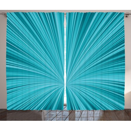 Teal Decor Curtains 2 Panels Set, Abstract Vortex Design Fireworks Celebration Stylized Monochrome Illustration, Living Room Bedroom Accessories, By Ambesonne (Teal Bedroom Accessories)