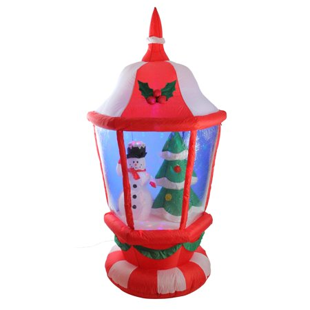 LB International Christmas 8' Pre-lit Inflatable Snowman in a Lantern Outdoor Decoration