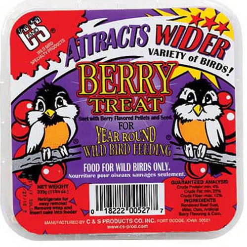 C and S Products CS12527 Berry Treat Suet for Year Round Bird Feeding, Rendered beef suet, millet, berry... by