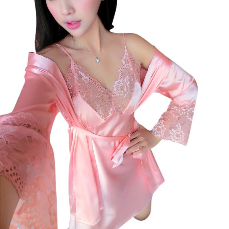 bc4bc7455 Mancro - Women's Silk Satin Lace Kimono Robe Gorgeous Loungewear Pajamas  Sleepwear Robes Nightdress Nightgown Camisole & Robe 2PC Set - Walmart.com