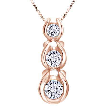 1/4 Ct Natural Diamond Three Stone Journey Pendant Necklace In 14K Solid Rose Gold
