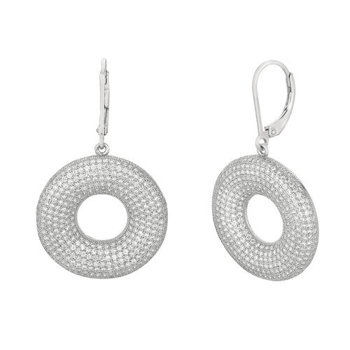 Silver on the Rocks Micro-Set 768 Cubic Zirconium Round Shape Dangle Earring