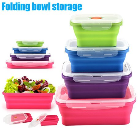 Silicone Bento Box Folding Lunch Bowl Food Storage Container Boxes