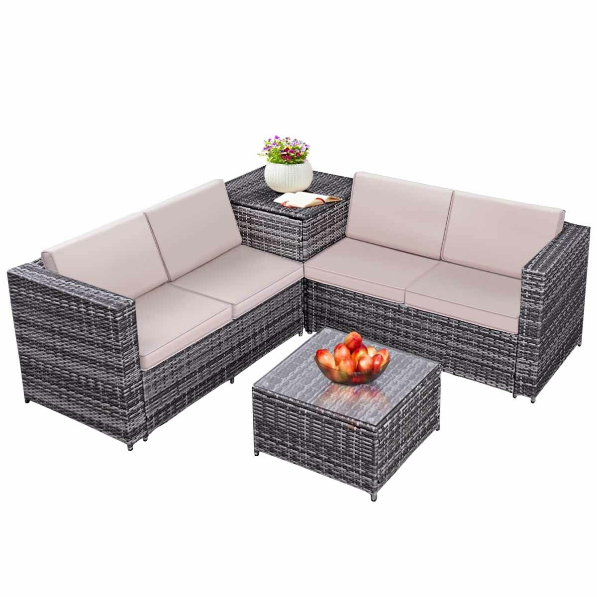 Costway 4pcs Patio Rattan Wicker Furniture Set Sofa Loveseat Cushioned W Storage Box