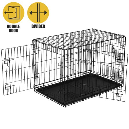 - Vibrant Life Double Door Folding Dog Training Kennel with Divider, Large, 42