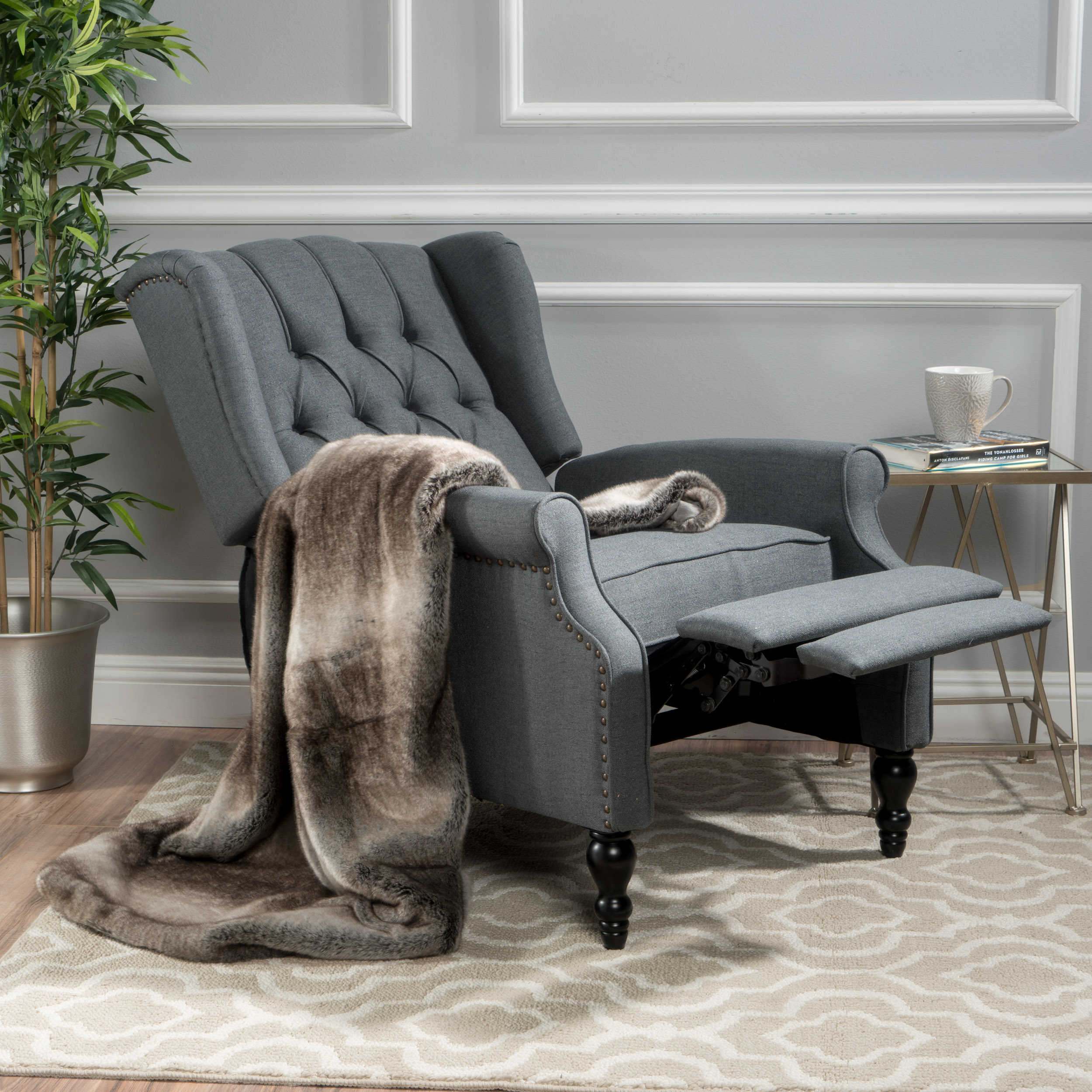 Noble House Franklin Charcoal Fabric Recliner