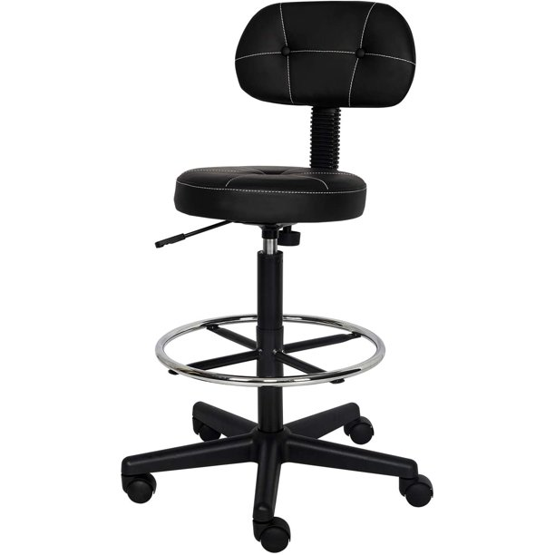 Elecwish Drafting Stool Chair With Removable Back Swivel Office Chair Thick Round Seat No Arms With Chrome Foot Ring For Home Office Black With Button Walmart Com Walmart Com