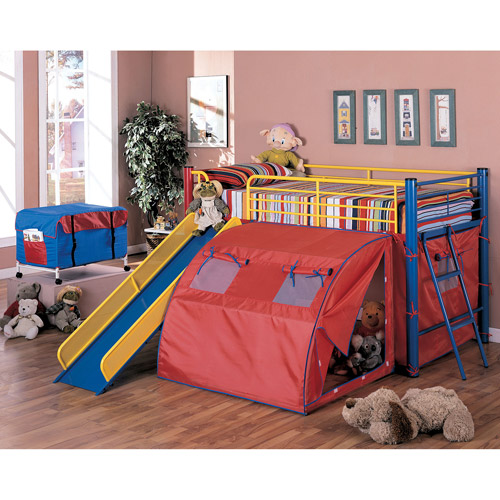 Coaster Youth Loft Bed with Slide and Tent, Red/Blue