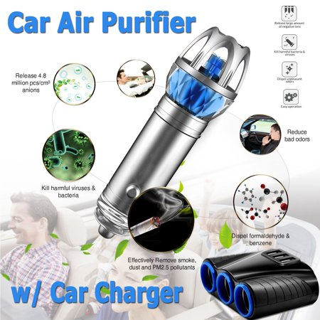 Car Air Purifier, EEEKit Air Freshener Ionizer Cigarette Eliminator Remove Pollen,Smoke,Bad Smell and Odors,3 Car Cigarette Lighter Socket