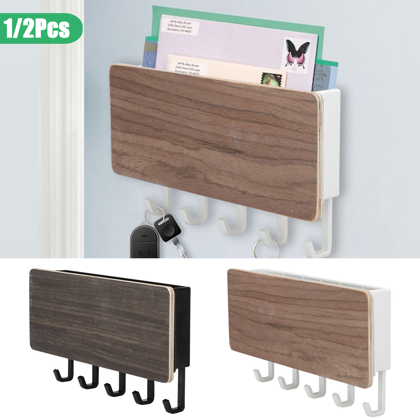 Wall Mount Mail Letter And Key Rack Holder Organizer Eeekit 2 1pcs Wooden Mail Letter Organizer Storage Box For Entryway Living Room Bedroom Hallway Kitchen Office Holds Mails Letters Keys Magazines Walmart Com