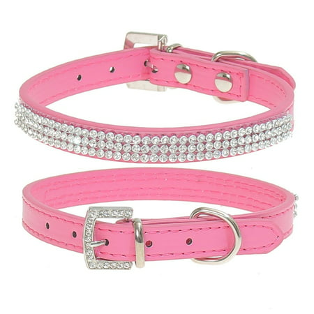 Bling Rhinestone Leather Crystal Diamond Puppy Collar Pet Dog Collars US STOCK Loki Puppy Leather
