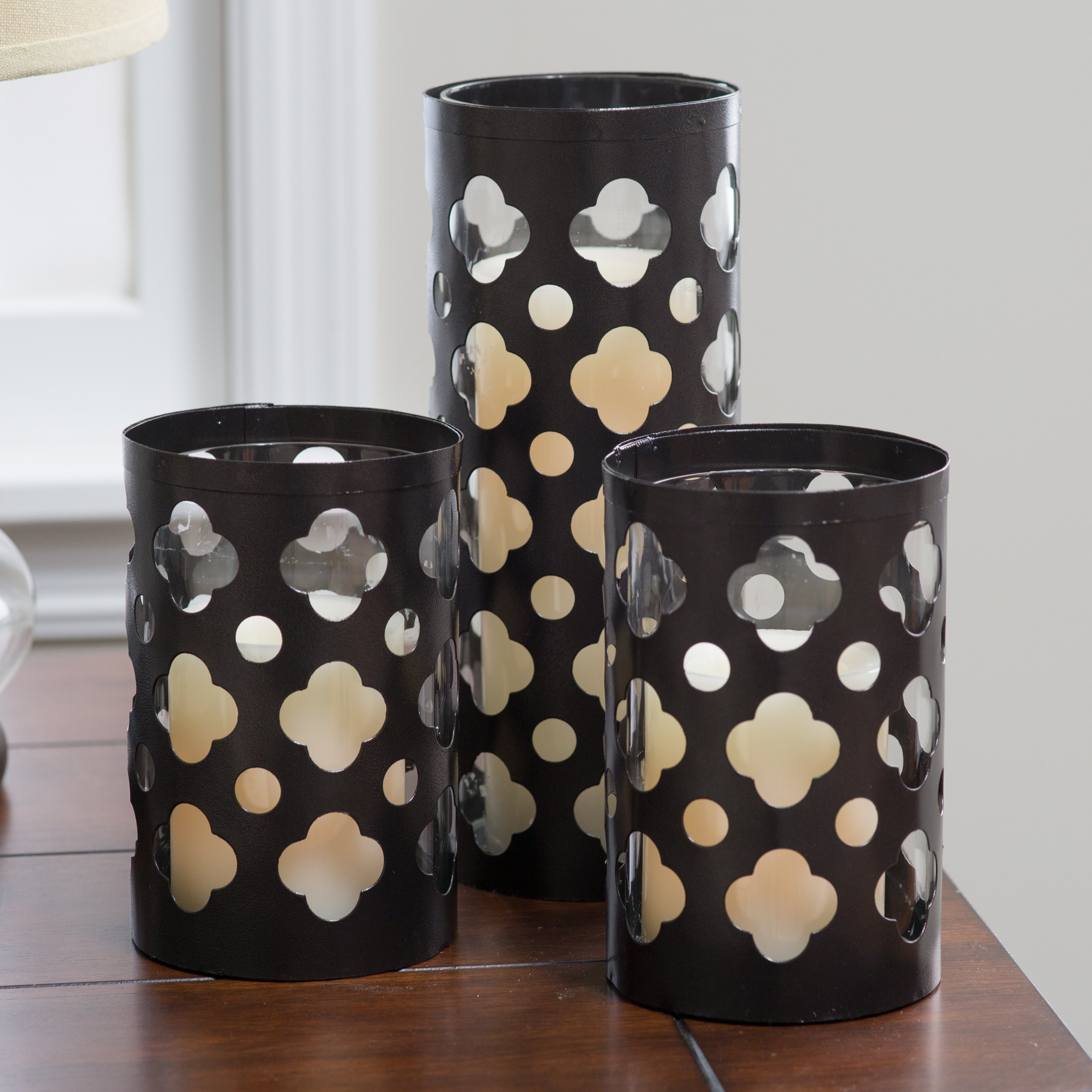Leila Cutwork Hurricane Candle Holders - Set of 3