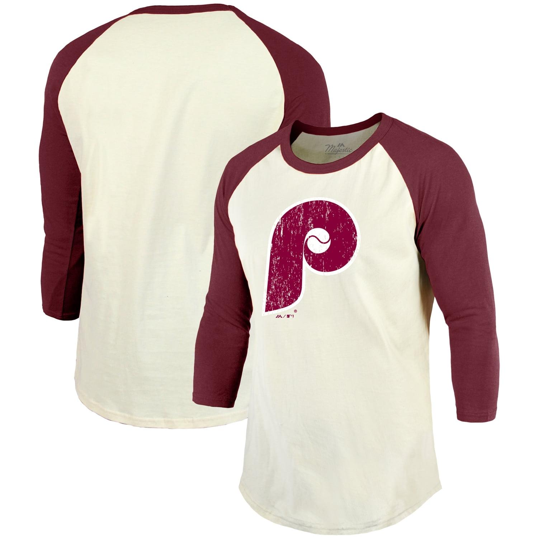 Philadelphia Phillies Majestic Threads Cooperstown Collection Raglan 3/4-Sleeve T-Shirt - Cream/Maroon