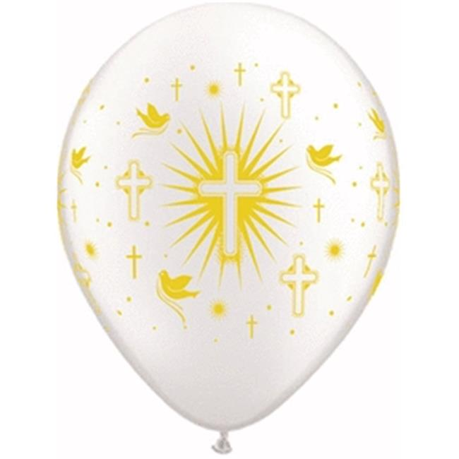 Mayflower Distributing 64134 11 IN. CROSS DOVES PWH LATEX BALLOON