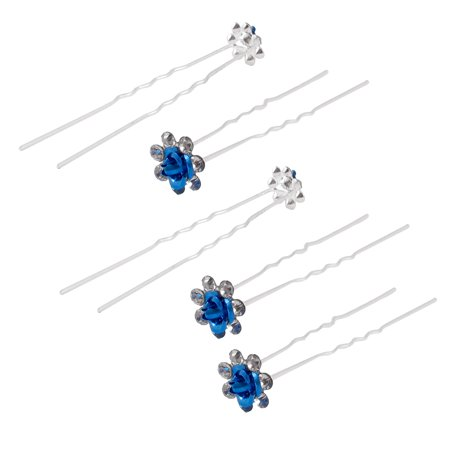Unique Bargains Wedding Bridal Bridesmaid Rose Flower Rhinestone Decor Hair Pin Clip Blue 5pcs