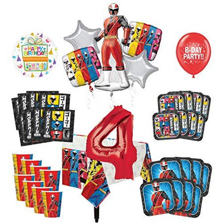 Mayflower Products Power Rangers 4th Birthday Party Supplies 8 Guest Decoration Kit and Balloon - Power Rangers Birthday Supplies