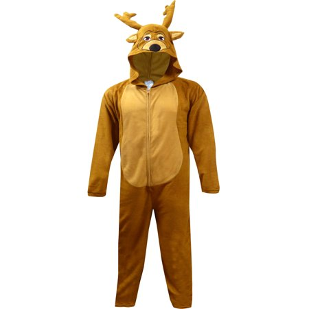 e1d45493e81b Onesie - Dress Like Santa s Reindeer One Piece Hooded Pajama - Walmart.com