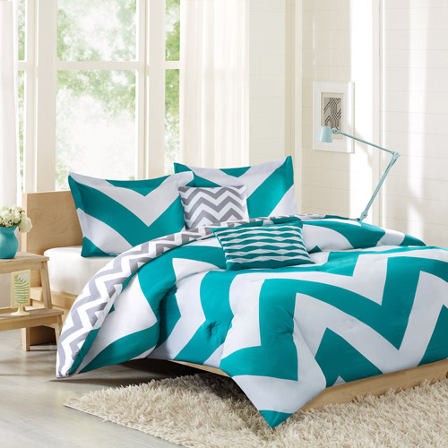 better homes and garden 5-piece aqua chevron bedding comforter set