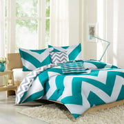 Better Homes & Gardens Full Chevron Aqua Comforter Set, 5 Piece