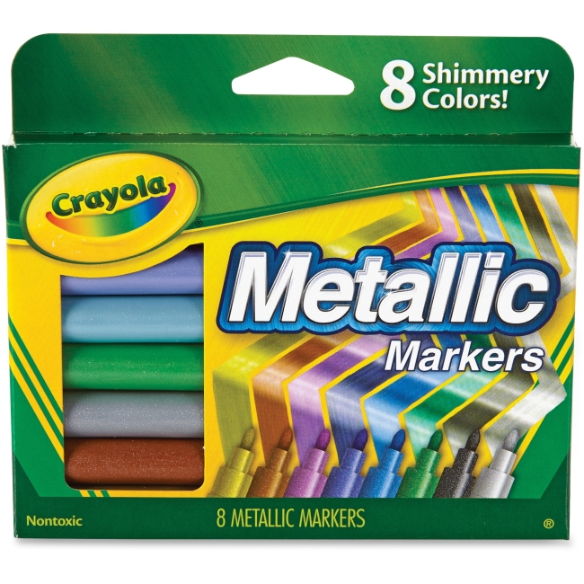 Crayola 8-color Metallic Markers - Cobalt Blue, Green Machine, Slick Silver, Copper Mine, Gold Ingot, Purple Steel, Blac