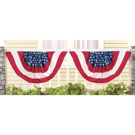Set of 4 Stars and Stripes Old Glory Flag Buntings Patriotic Americana 4th of July Flag Fence Rail Porch Banner Decoration
