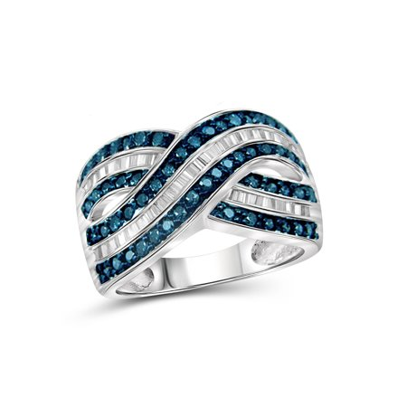 - 1.00 CTW Round & Baguette cut Blue & White Diamond Crossover Sterling Silver Ring