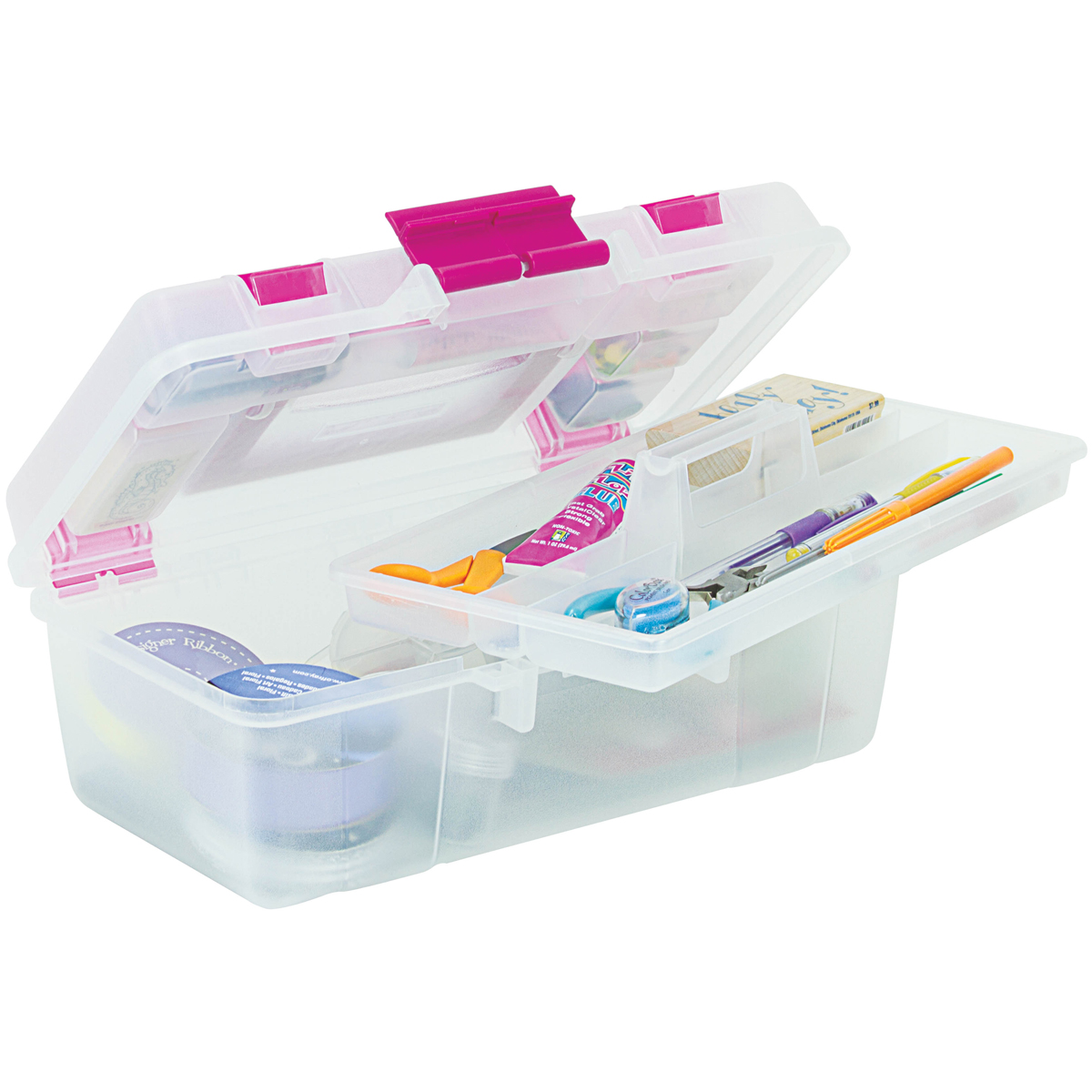 "Creative Options Tool Box Organizer, 13""x7.5""x5"", Clear"