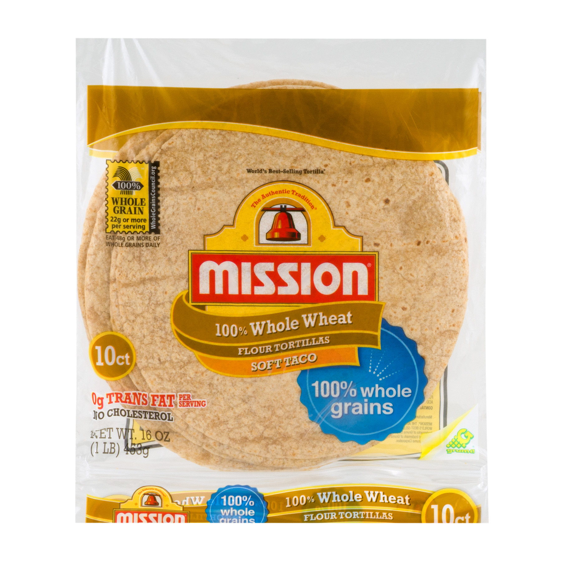 Mission Whole Wheat Soft Taco Tortillas, 10 Ct