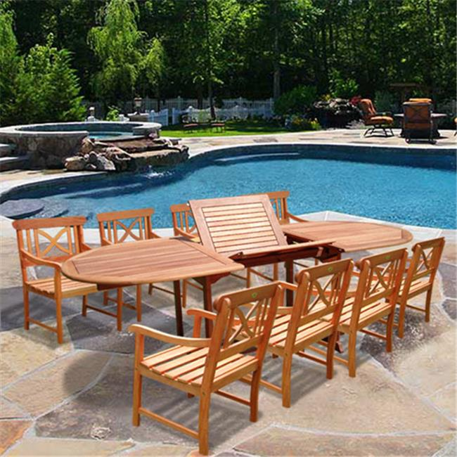 Malibu Outdoor 9-piece Wood Patio Dining Set with Extension Table  - V144SET18