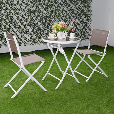 costway 3 pc brown bistro set outdoor garden table chairspatio furniture folding steel