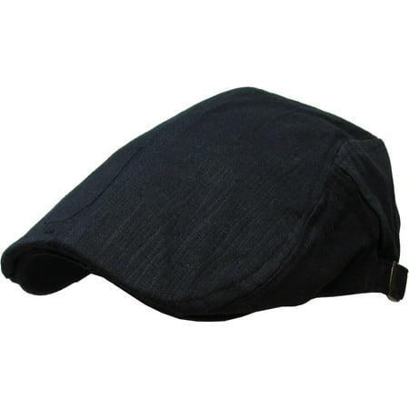 Cotton Adjustable Golf Hat (Solid Cotton Gatsby Cap Mens Denim Hat Golf Driving Summer Cabbie Newsboy )