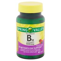 Spring Valley Vitamin B12 Fast Dissolve Tablets, 5000 mcg, 45 Count