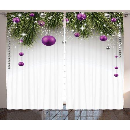 Christmas Decorations  Curtains 2 Panels Set, Christmas Tree Decorations Tinsel and Balls with Gift Wrap Ribbon Picture, Living Room Bedroom, Purple Grey Green, by (Dark Grey Green)