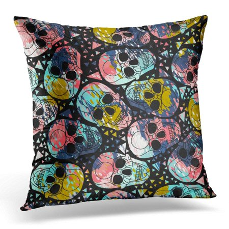 CMFUN Skull with Polygonal Halloween Abstract with Dashed Lines Cartoon Doodles in Bright Colors Colorful Pillows case 20x20 Inches Home Decor Sofa Cushion Cover - Halloween Skulls Cartoon