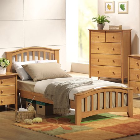 ACME San Marino Twin Panel Bed with Slat System in Maple, Multiple Colors