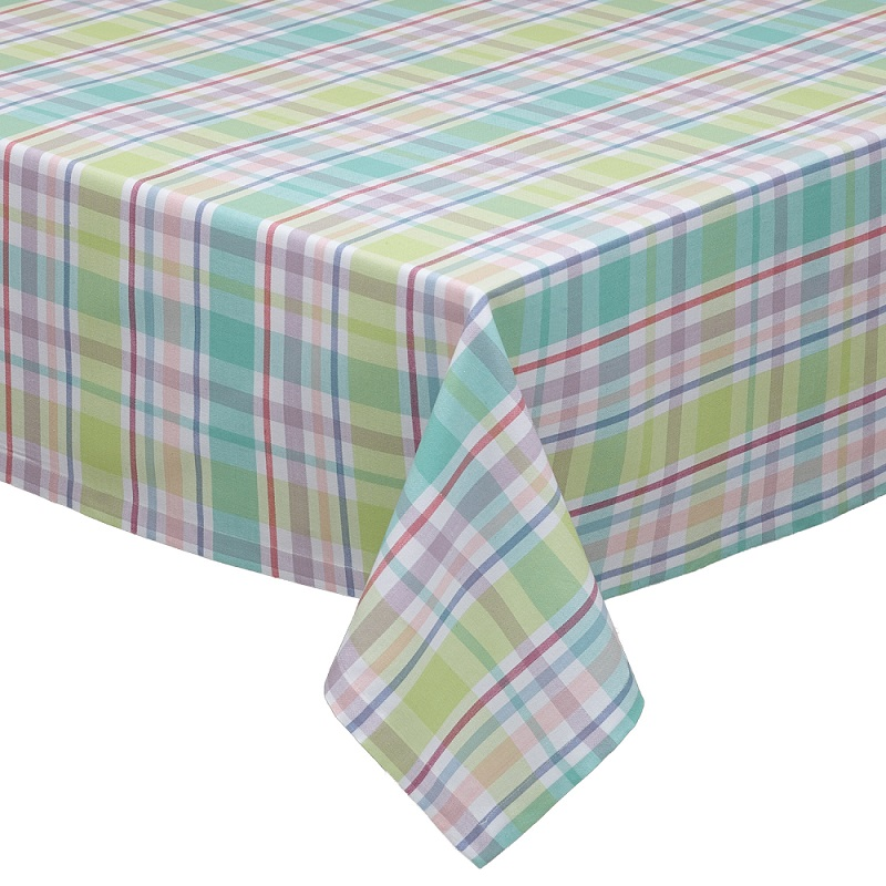 "Spring Fling Pastel Plaid Decorative Square Cotton Table Cloth 52"" x 52"""