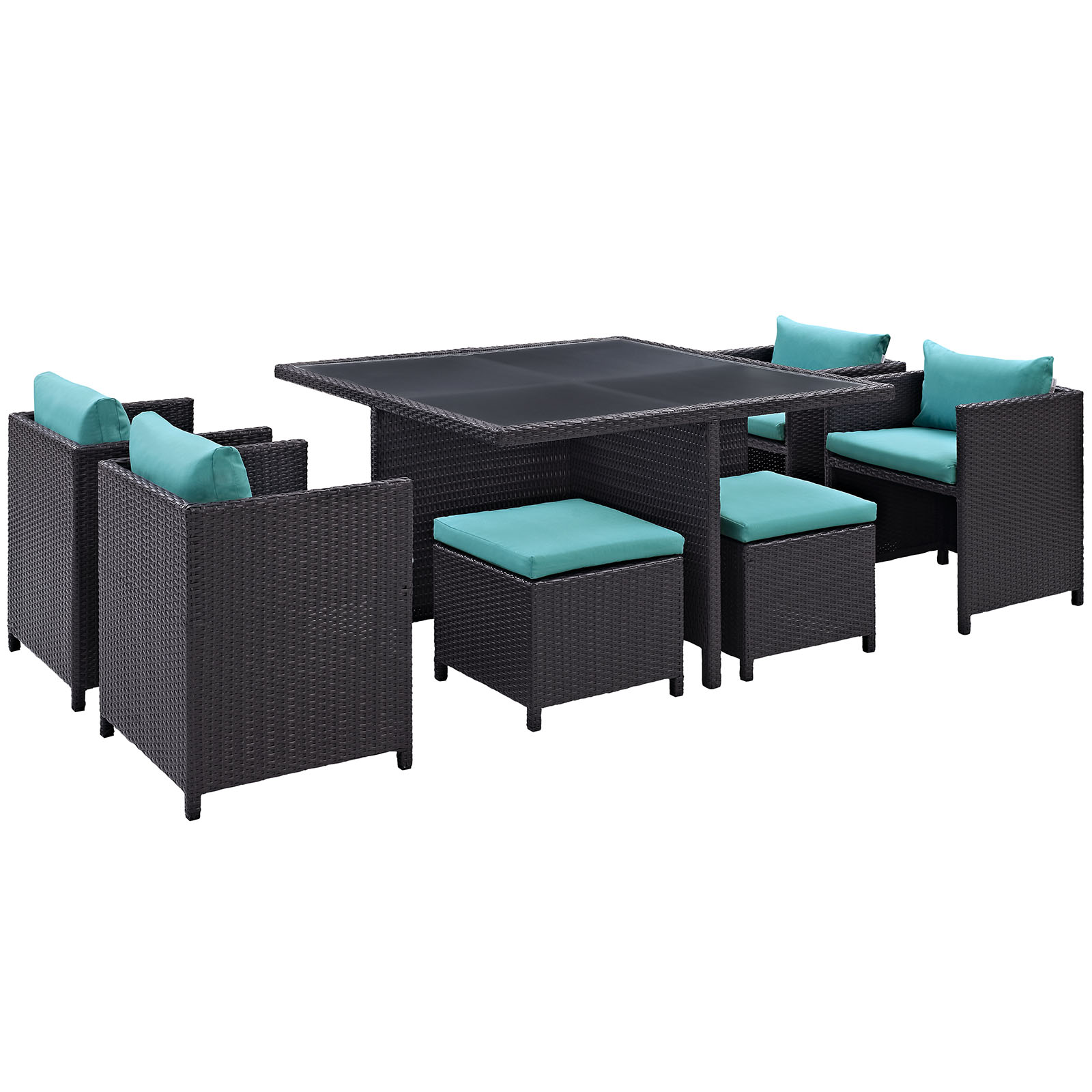 Modern Contemporary 9 Pcs Outdoor Patio Dining Set, Blue Plastic