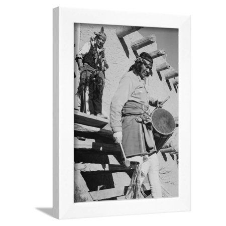 Indian Descending Wooden Stairs With Drum, Dance San Ildefonso Pueblo New Mexico 1942 Framed Print Wall Art By Ansel Adams