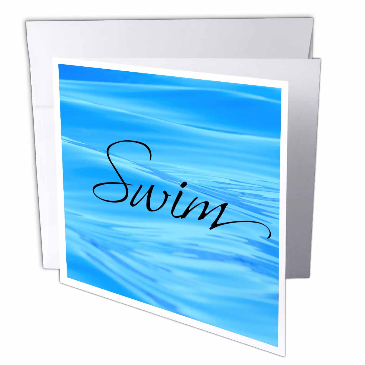 3dRose Swim, water background, pool water, Greeting Cards, 6 x 6 inches, set of 6