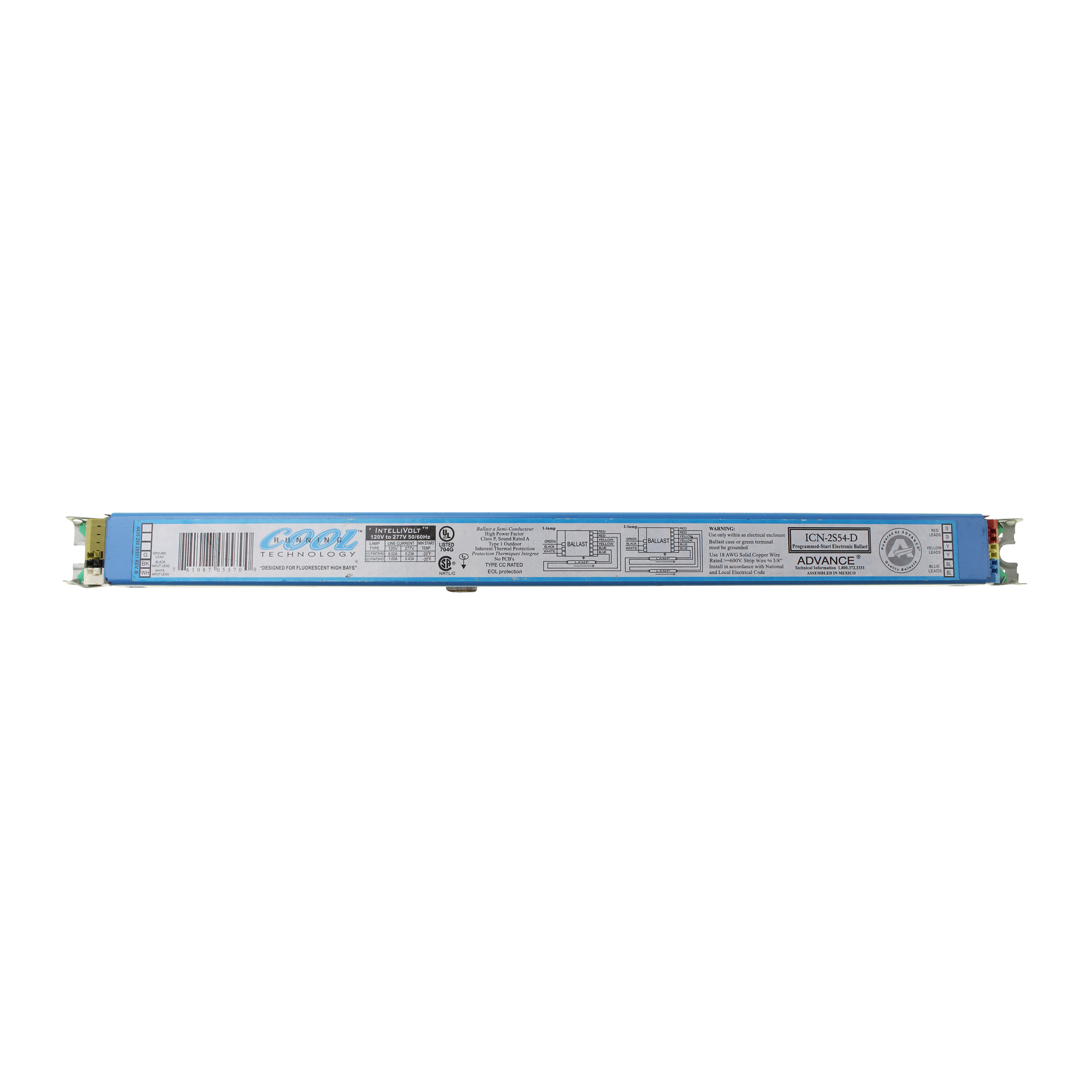 Philips Advanced ICN-2S54-D Fluorescent Ballast, 2 Lamp, ...