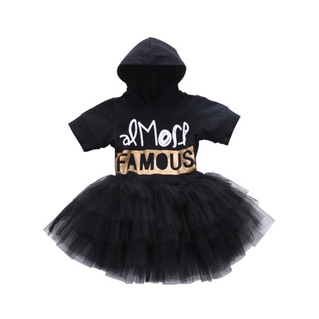 StylesILove Girls Chic Letter Printed Black Hoodie Tiered Tutu Dress (110/5)