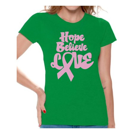 Just Hope Breast (Awkward Styles Cancer Support Shirts for Mom Hope T Shirt for Woman Hope Believe Love Tshirt for Women Cancer Shirt for Ladies Cancer Gifts Breast Cancer Awareness Shirt Pink Ribbon Support Gifts )