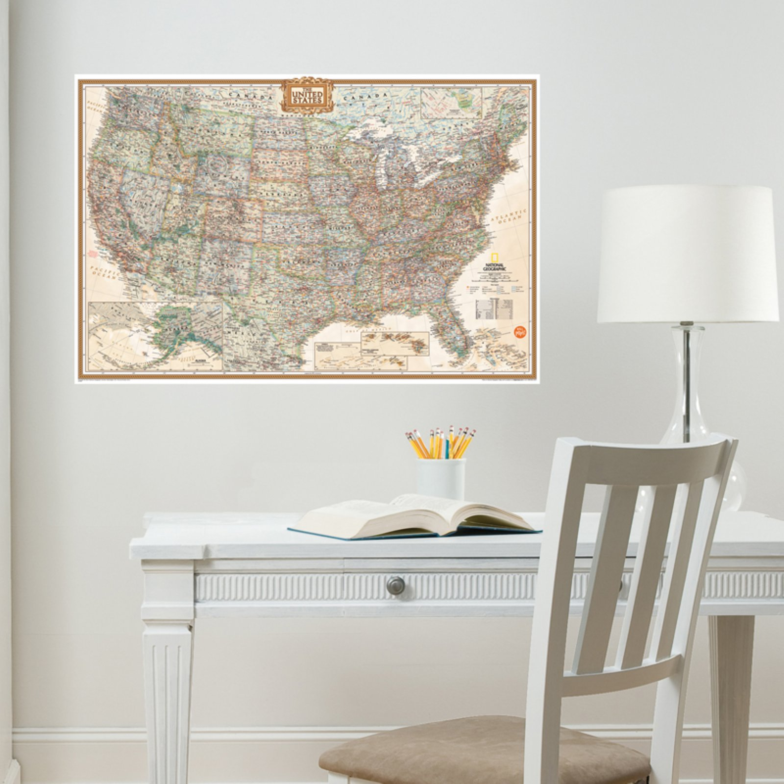 Wall Pops National Geographic USA Executive Dry-Erase Map Decal