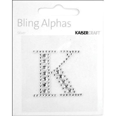 """Bling Alphas Self-Adhesive Rhinestone Letter 1.375""""-Silver Crystal K"""